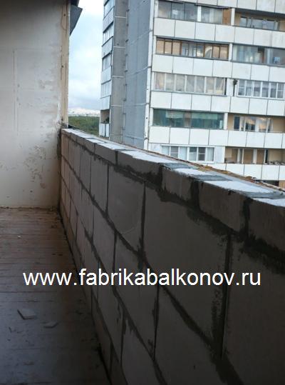 Кладка из пеноблоков на балконах и лоджиях парапета, стен, перегородок